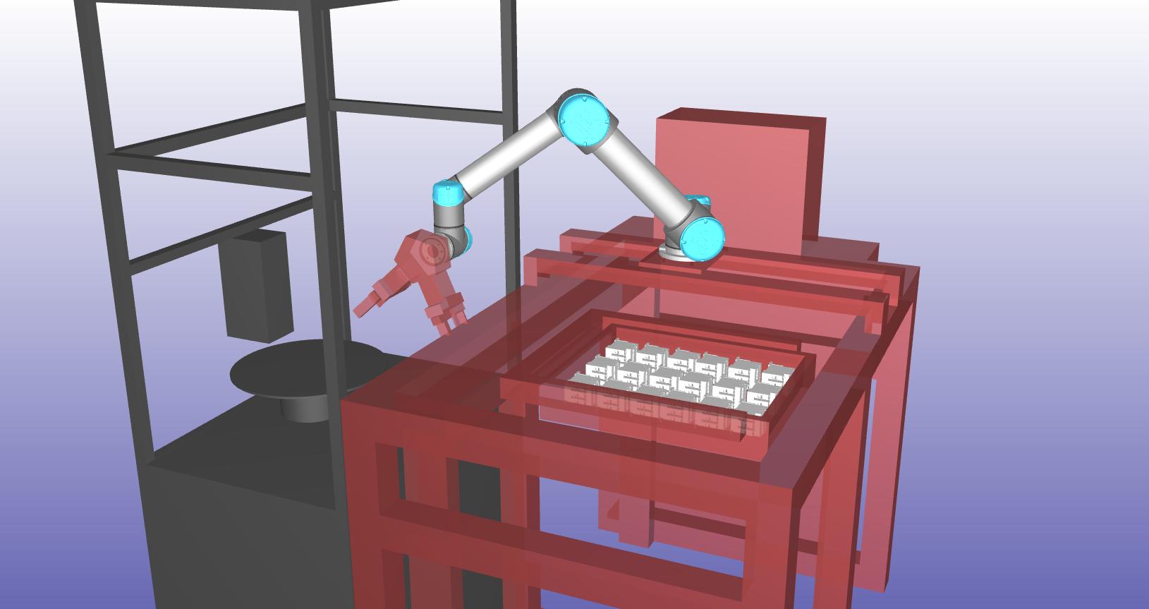 ロボットハンドと架台の接触を検出した画像